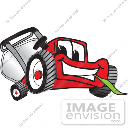 #27405 Clip Art Graphic of a Red Lawn Mower Mascot Character Smiling While Chewing on a Blade of Grass by toons4biz