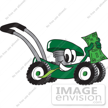 #27411 Clip Art Graphic of a Green Lawn Mower Mascot Character Chewing on a Blade of Grass and Holding up a Dollar Bill While Passing by by toons4biz