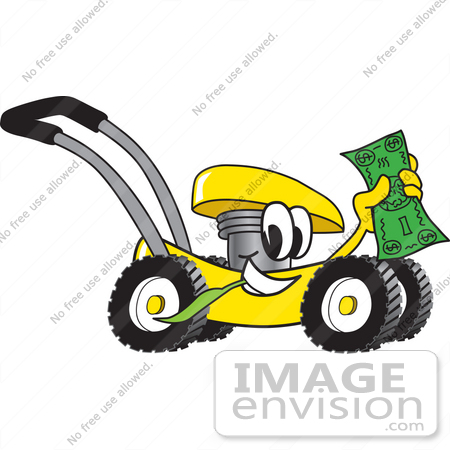 #27412 Clip Art Graphic of a Yellow Lawn Mower Mascot Character Chewing on a Blade of Grass and Holding up a Dollar Bill While Passing by by toons4biz