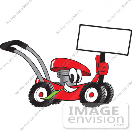 #27416 Clip Art Graphic of a Red Lawn Mower Mascot Character Holding a Blank Sign and Chewing on a Blade of Grass While Passing by by toons4biz