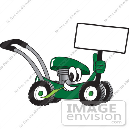 Clip Art Graphic of a Green Lawn Mower Mascot Character Holding a ...