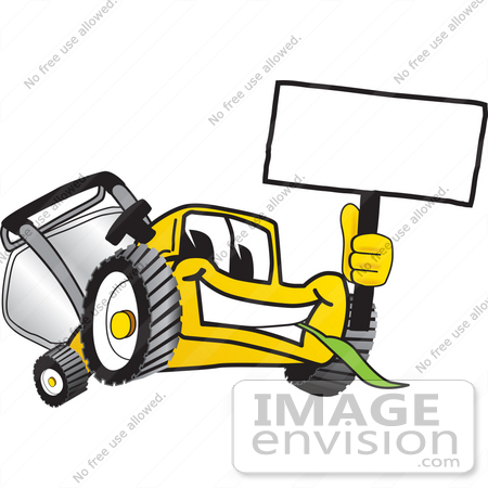 Clip art graphic of a yellow lawn mower mascot character facing 27421 clip art graphic of a yellow lawn mower mascot character facing front chewing publicscrutiny Image collections