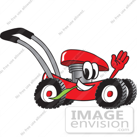 #27423 Clip Art Graphic of a Red Lawn Mower Mascot Character Waving and Chewing on a Blade of Grass While Passing by by toons4biz