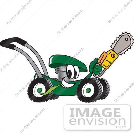 #27427 Clip Art Graphic of a Green Lawn Mower Mascot Character Chewing on a Blade of Grass and Holding a Saw While Passing by by toons4biz