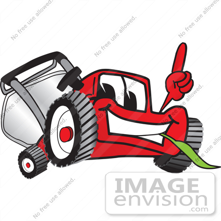 #27434 Clip Art Graphic of a Red Lawn Mower Mascot Character Facing Front, Smiling and Eating Grass While Pointing Upwards by toons4biz