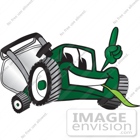 #27436 Clip Art Graphic of a Green Lawn Mower Mascot Character Facing Front, Smiling and Eating Grass While Pointing Upwards by toons4biz