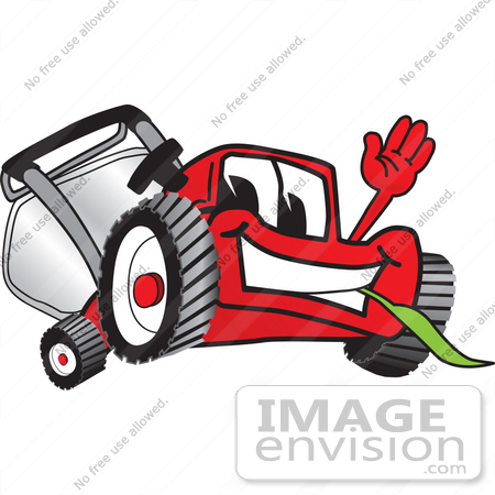 #27439 Clip Art Graphic of a Red Lawn Mower Mascot Character Waving and Chewing on Grass by toons4biz