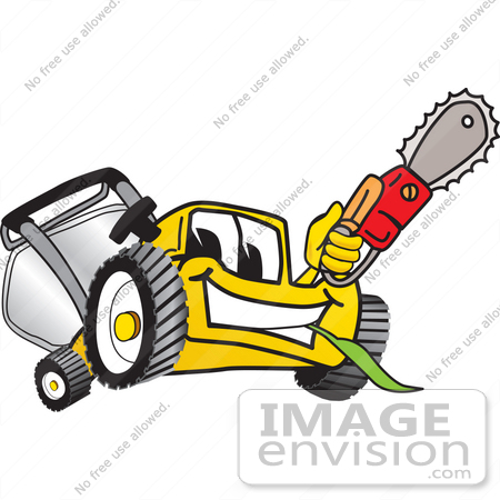 #27440 Clip Art Graphic of a Yellow Lawn Mower Mascot Character Holding a Red Saw by toons4biz