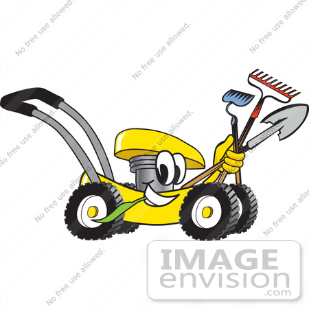 #27445 Clip Art Graphic of a Yellow Lawn Mower Mascot Character Smiling and Chewing on Grass While Passing by and Carrying Garden Tools by toons4biz
