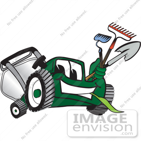 #27447 Clip Art Graphic of a Green Lawn Mower Mascot Character Facing Front, Chewing on Grass and Holding Gardening Tools by toons4biz