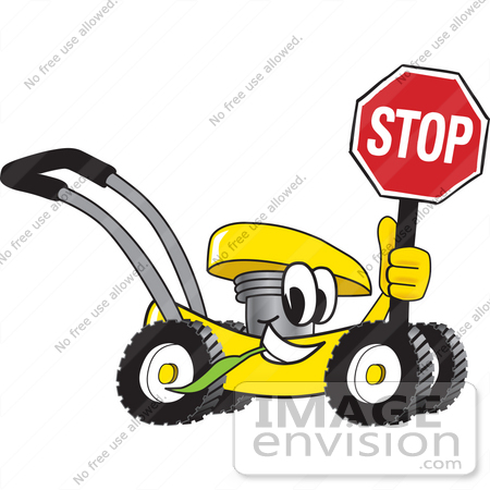 #27450 Clip Art Graphic of a Yellow Lawn Mower Mascot Character Smiling While Passing by, Chewing on Grass and Holding a Stop Sign by toons4biz