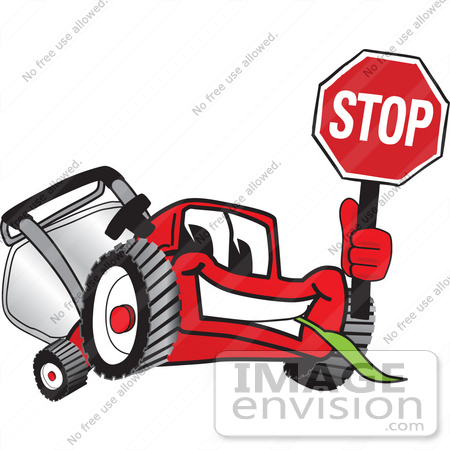 #27451 Clip Art Graphic of a Red Lawn Mower Mascot Character Facing Front and Smiling While Chewing on Grass and Holding a Stop Sign by toons4biz