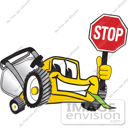 #27454 Clip Art Graphic of a Yellow Lawn Mower Mascot Character Facing Front and Smiling While Chewing on Grass and Holding a Stop Sign by toons4biz