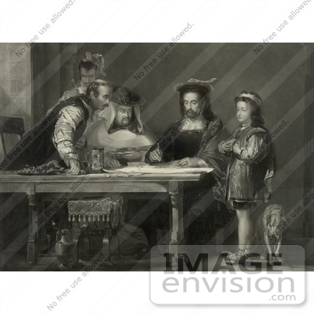 #27455 Illustration of a Little Boy, Probably Diego Colon, And A Dog Standing By A Table Where Christopher Columbus And Three Other Men Listen As Columbus Proposes His Theory Of A New World With Maps by JVPD