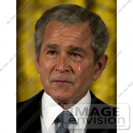 #27460 Stock Photo of President George Walker Bush Crying While Addressing Attendees at the Medal of Honor Ceremony for U.S. Navy Master at Arms 2nd Class Michael A. Monsoor on April 8th 2008 by JVPD