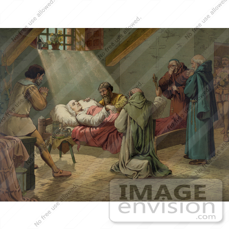 #27466 Illustration of Men In Prayer, Standing Around Christopher Columbus At His Death by JVPD