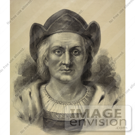 #27468 Illustration of a Portrait Of Christopher Columbus Facing Front And Wearing A Hat by JVPD