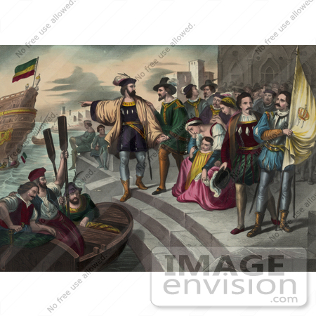 #27475 Illustration of Christopher Columbus Pointing And Preparing To Get Into A Rowboat To Board Onto His Ship As People Watch During The Departure Of Columbus by JVPD