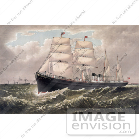 #27490 Illustration of the Steamships Egypt and Spain of the National Steamship Line Between New York and Liverpool by JVPD