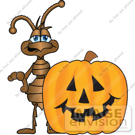 #27500 Clip Art Graphic of a Brown Ant Insect Mascot Character Standing Behind a Carved Halloween Pumpkin by toons4biz