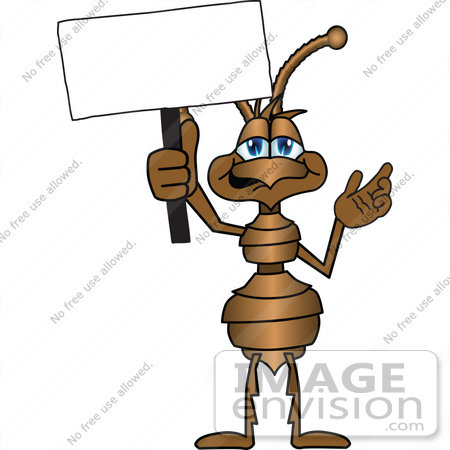 #27504 Clip Art Graphic of a Brown Ant Insect Mascot Character Waving a Blank White Sign by toons4biz