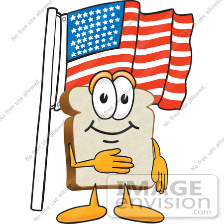 #27515 Clip Art Graphic of a White Bread Slice Mascot Character Standing in Front of an American Flag on Flag Day or the Fourth of July by toons4biz