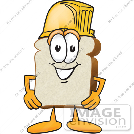 #27516 Clip Art Graphic of a White Bread Slice Mascot Character Wearing a Yellow Hardhat by toons4biz