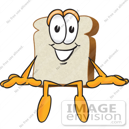 #27518 Clip Art Graphic of a White Bread Slice Mascot Character Sitting on a Ledge by toons4biz