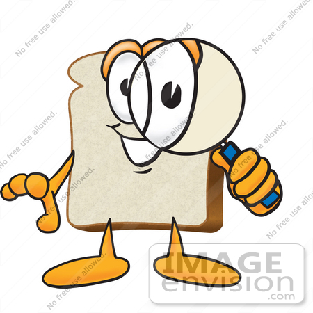 #27524 Clip Art Graphic of a White Bread Slice Mascot Character Looking Through a Magnifying Glass by toons4biz