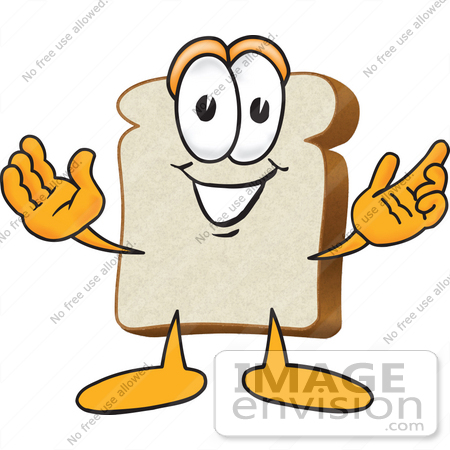 #27533 Clip Art Graphic of a White Bread Slice Mascot Character Greeting With Open Arms by toons4biz