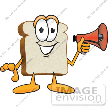 #27537 Clip Art Graphic of a White Bread Slice Mascot Character Preparing to Make an Announcement With a Bullhorn Megaphone by toons4biz