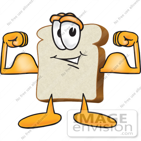 #27538 Clip Art Graphic of a White Bread Slice Mascot Character Flexing His Strong Bicep Arm Muscles by toons4biz