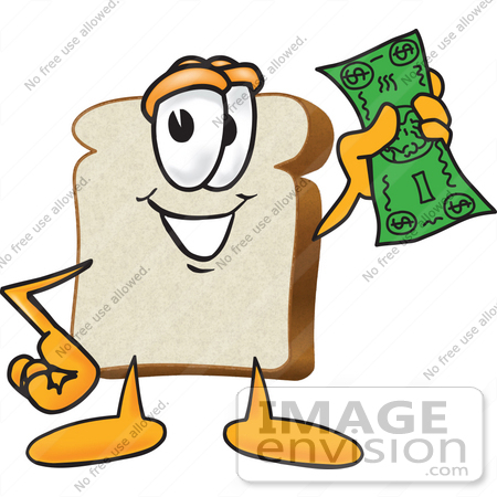 #27542 Clip Art Graphic of a White Bread Slice Mascot Character Waving Green Cash by toons4biz