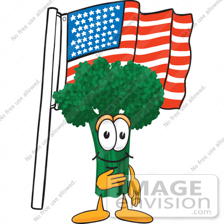 #27562 Clip Art Graphic of a Broccoli Mascot Character Pledging Allegiance to an American Flag by toons4biz