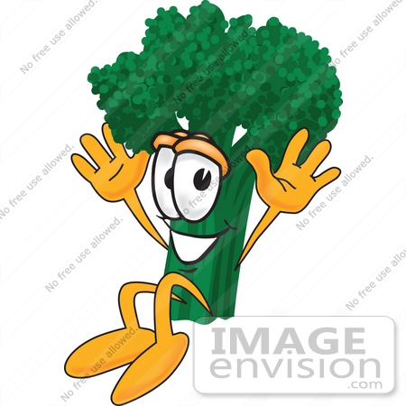 #27570 Clip Art Graphic of a Broccoli Mascot Character Jumping Excitedly by toons4biz