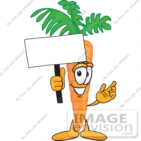 #27599 Clip Art Graphic of an Organic Veggie Carrot Mascot Character Holding up a Blank White Advertisement Sign by toons4biz