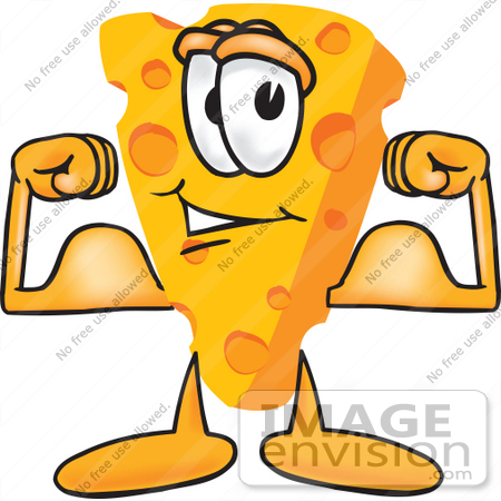 #27606 Clip Art Graphic of a Swiss Cheese Wedge Mascot Character Flexing His Arm Muscles by toons4biz