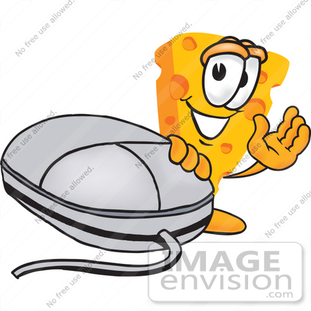 #27616 Clip Art Graphic of a Swiss Cheese Wedge Mascot Character Waving and Standing by a Computer Mouse by toons4biz