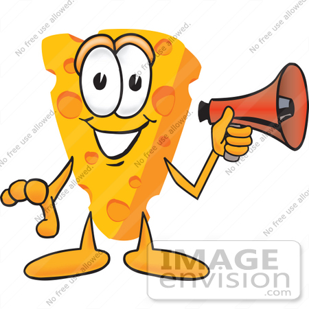 #27617 Clip Art Graphic of a Swiss Cheese Wedge Mascot Character Holding a Red Megaphone Bullhorn by toons4biz