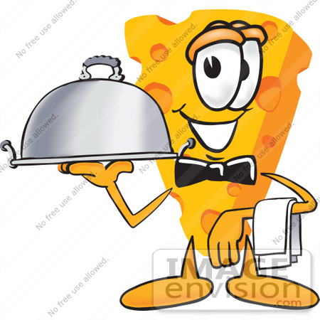 #27618 Clip Art Graphic of a Swiss Cheese Wedge Mascot Character Serving a Dinner Platter While Waiting Tables by toons4biz
