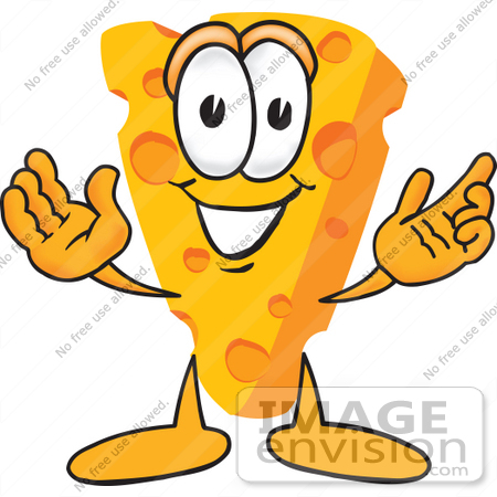 #27619 Clip Art Graphic of a Swiss Cheese Wedge Mascot Character With Welcoming Open Arms by toons4biz