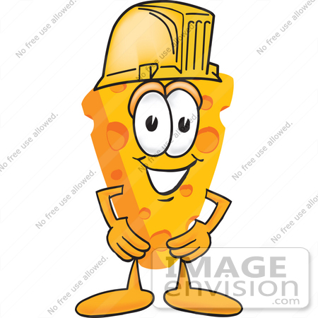 #27625 Clip Art Graphic of a Swiss Cheese Wedge Mascot Character Wearing a Yellow Hardhat by toons4biz