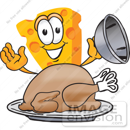 #27626 Clip Art Graphic of a Swiss Cheese Wedge Mascot Character Serving a Thanksgiving Turkey on a Platter by toons4biz