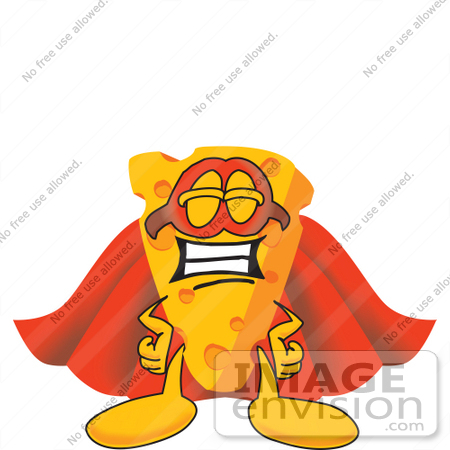 #27631 Clip Art Graphic of a Swiss Cheese Wedge Mascot Character in a Super Hero Cape and Mask by toons4biz
