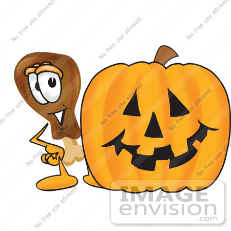 #27672 Clip Art Graphic of a Chicken Drumstick Mascot Character With a Carved Halloween Pumpkin by toons4biz