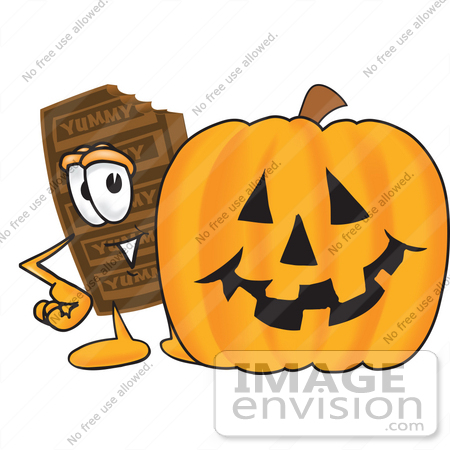 #27673 Clip Art Graphic of a Chocolate Candy Bar Mascot Character With a Carved Halloween Pumpkin by toons4biz