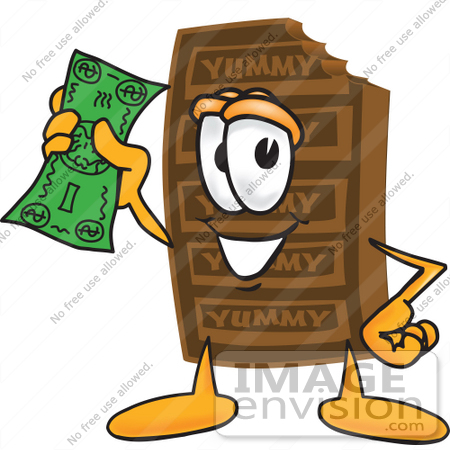 Clip Art Graphic of a Chocolate Candy Bar Mascot Character Holding ...