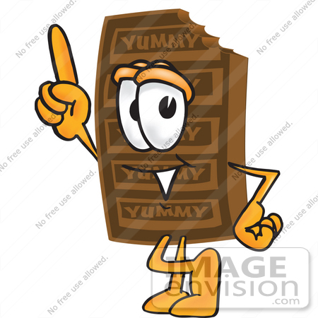 #27676 Clip Art Graphic of a Chocolate Candy Bar Mascot Character Pointing Upwards by toons4biz