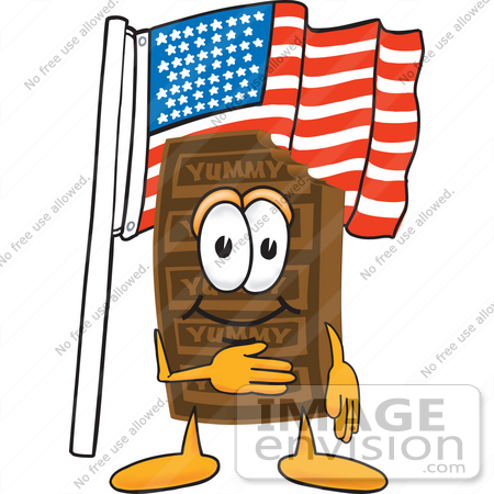 #27681 Clip Art Graphic of a Chocolate Candy Bar Mascot Character Pledging Allegiance to an American Flag by toons4biz