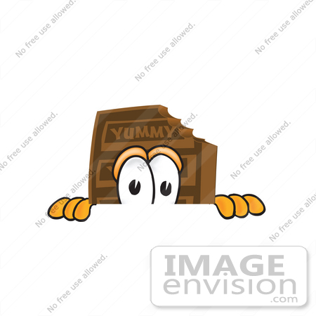 #27682 Clip Art Graphic of a Chocolate Candy Bar Mascot Character Peeking Over a Surface by toons4biz